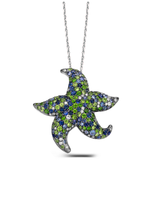 Diamond Point Beauties of the sea pendant in 18 karat white gold
