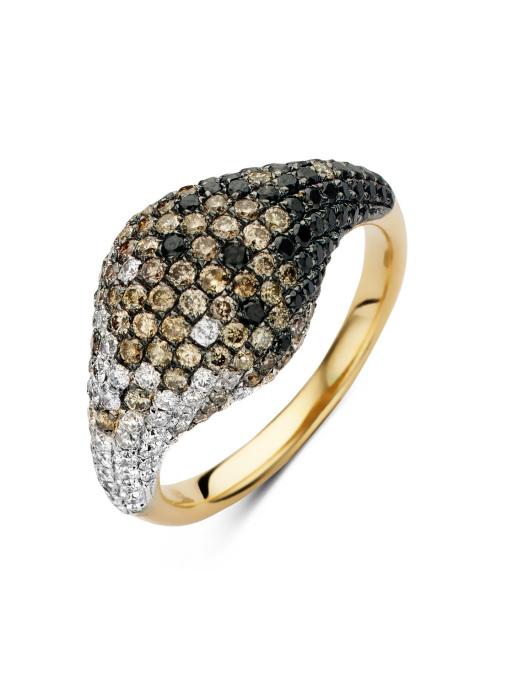 Diamond Point Geelgouden ring, 1.61 ct diamant, Black