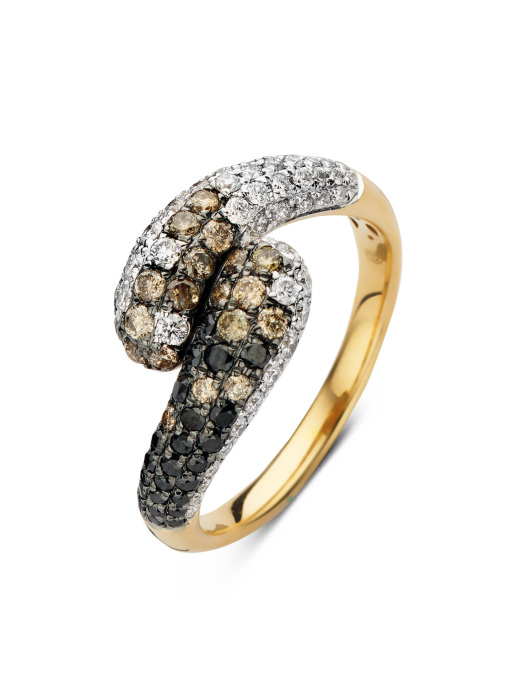 Diamond Point Geelgouden ring 0.44 ct diamant Brown
