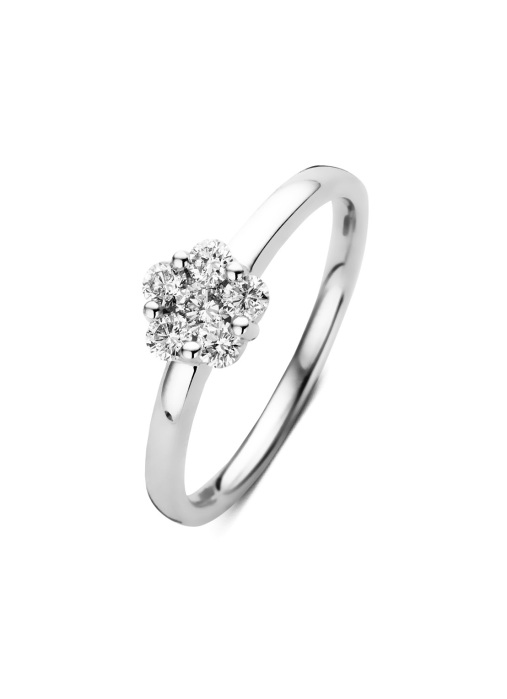 Diamond Point Witgouden ring, 0.40 ct diamant, Caviar