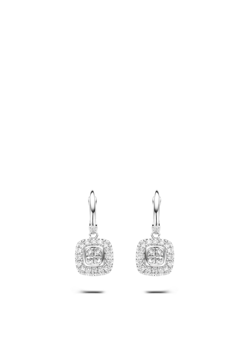 Diamond Point Fourever earrings in 14 karat white gold