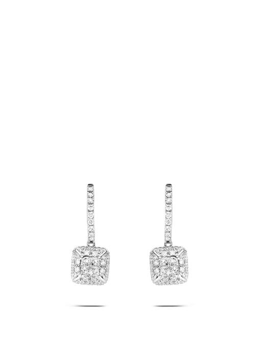 Diamond Point Fourever earrings in 14 karat white gold