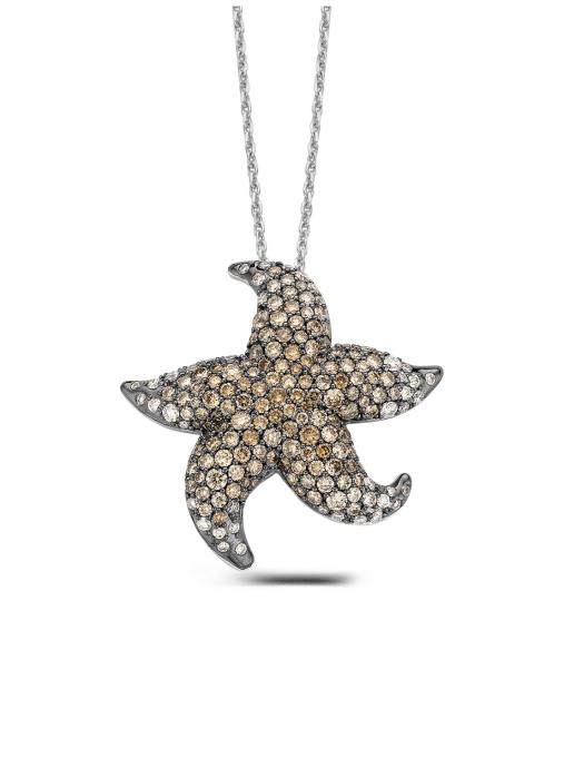Diamond Point Beauties of the sea pendant in 18 karat white gold