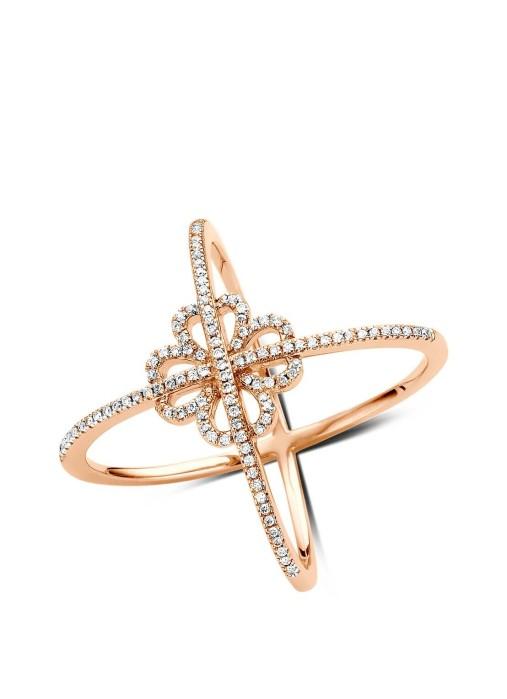 Diamond Point Roségouden ring, 0.26 ct diamant, Like a star
