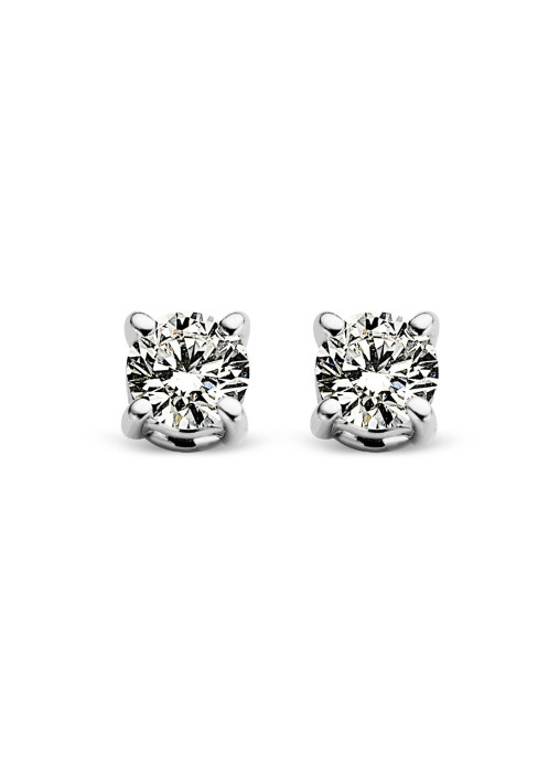 Diamond Point Witgouden solitair oorstekers, 0.14 ct diamant, Groeibriljant