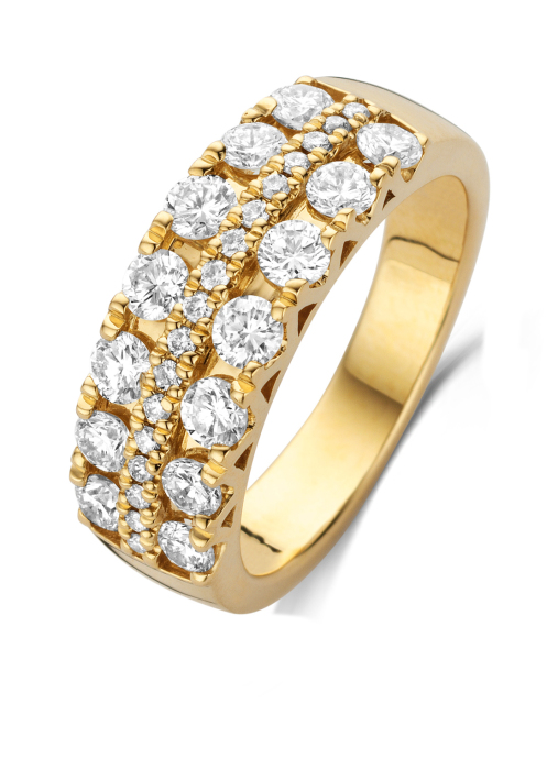 Diamond Point Caviar ring in 14 karat yellow gold with white rhodium