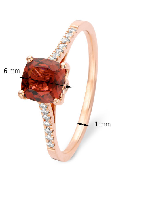 Diamond Point Roségouden ring 1.01 ct rhodoliet Colors
