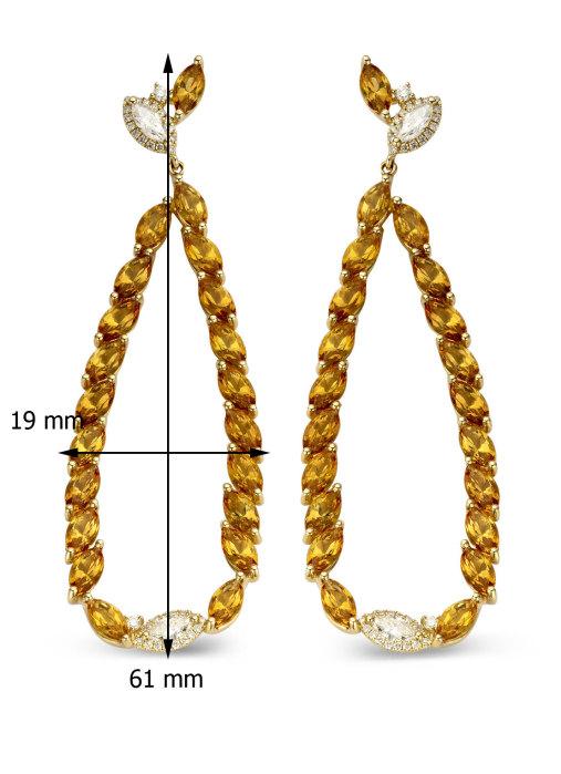 Diamond Point Geelgouden oorsieraden, 0.70 ct diamant, Colors
