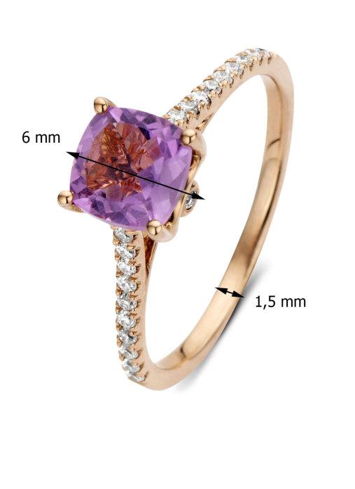 Diamond Point Roségouden ring 0.99 ct amethist Colors