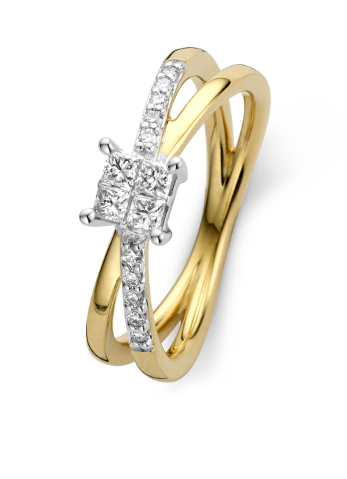 Diamond Point Fourever ring in 14 karat yellow and whitegold