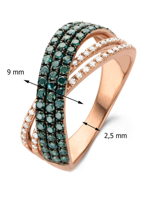 Diamond Point Caviar ring in 14 karat rose gold