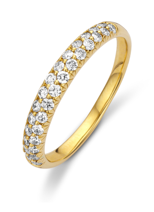 Diamond Point Caviar ring in 14 karat yellow gold