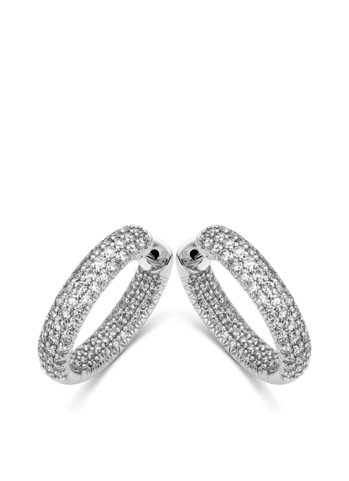 Diamond Point Caviar earrings in 18 karat white gold