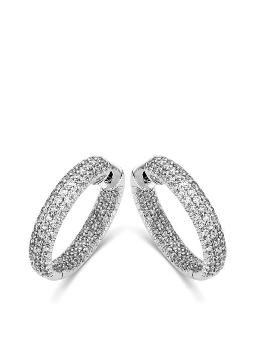 Diamond Point Witgouden oorsieraden, 2.22 ct diamant, Caviar