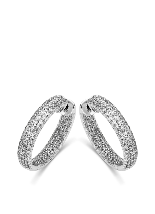 Diamond Point Caviar earrings in 18 karat white gold