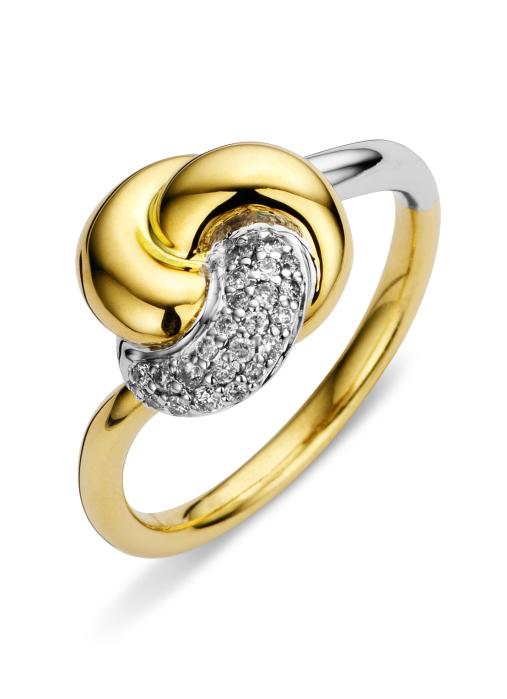 Diamond Point Caviar Ring in 14 karaat bicolor