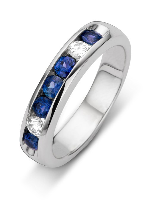 Diamond Point Witgouden ring 0.68 ct blauwe saffier Majestic