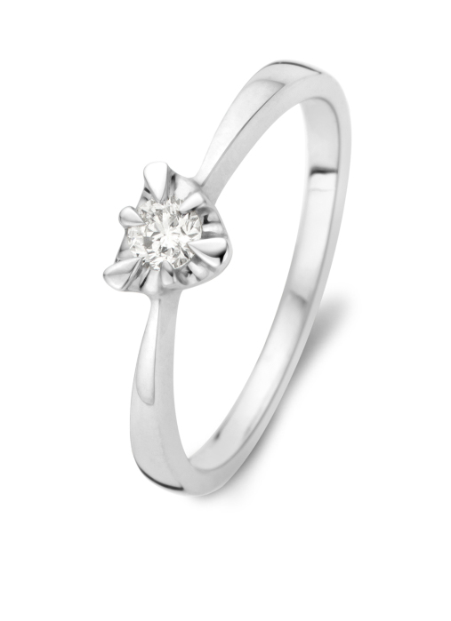 Diamond Point Witgouden ring, 0.16 ct diamant, Solitair