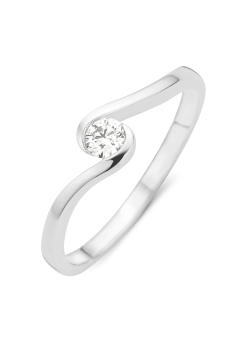 Diamond Point Witgouden ring, 0.15 ct diamant, Solitair