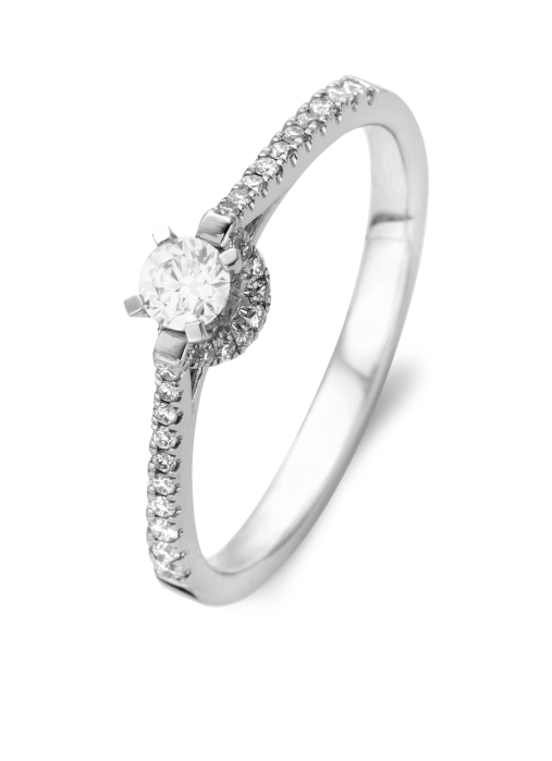 Diamond Point Witgouden ring, 0.35 ct diamant, Solitair