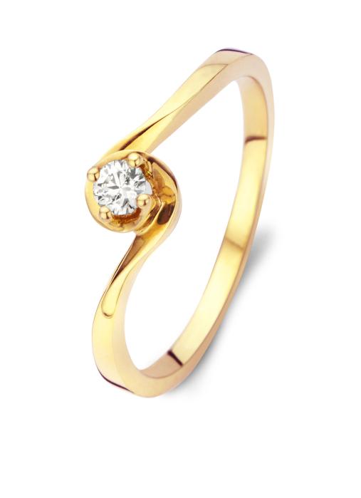 Diamond Point Geelgouden ring, 0.10 ct diamant, Solitair