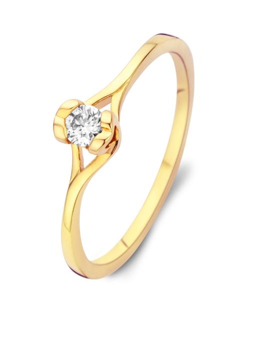 Diamond Point Solitair ring in 18 karat yellow gold
