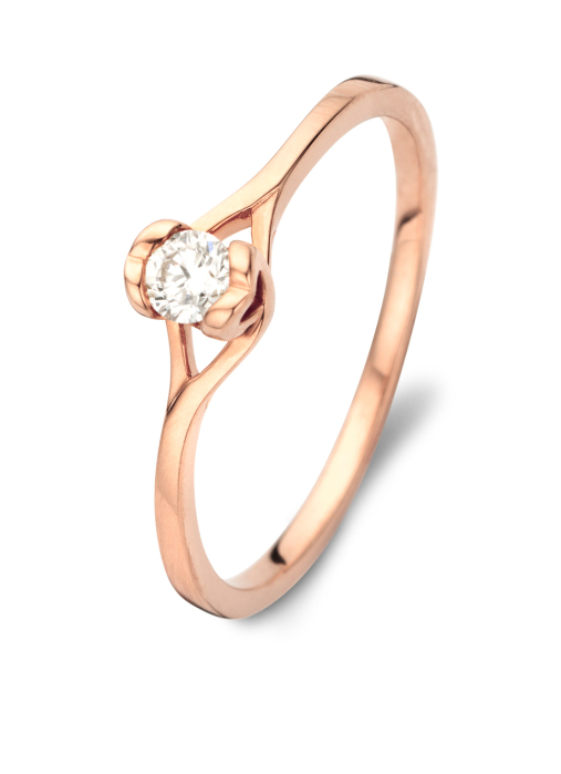 Diamond Point Roségouden ring, 0.15 ct diamant, Solitair