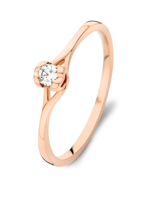Diamond Point Roségouden ring, 0.10 ct diamant, Solitair
