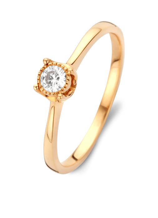 Diamond Point Roségouden ring, 0.14 ct diamant, Solitair