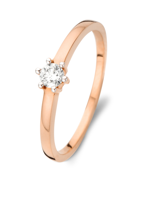 Diamond Point Solitair Ring in 18K Roségold