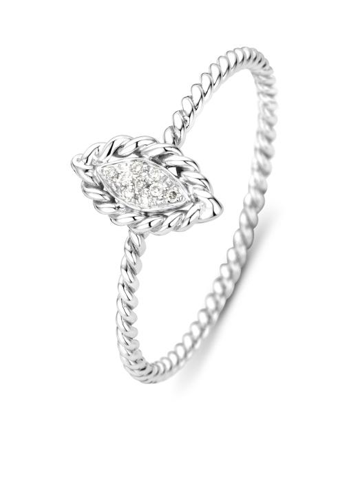 Diamond Point Witgouden ring, 0.03 ct diamant, Caviar