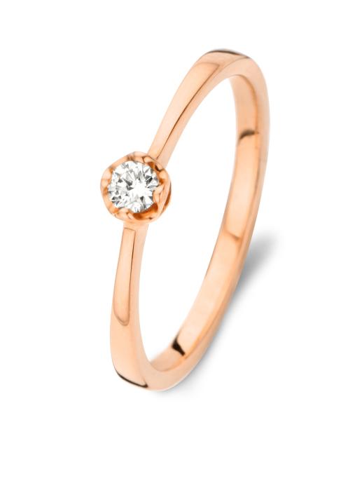 Diamond Point Solitair Ring in 18K Roségold