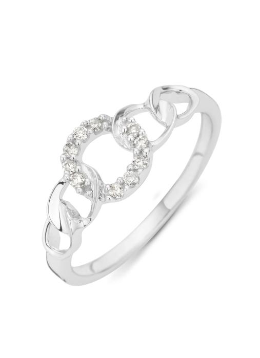 Diamond Point Witgouden ring, 0.10 ct diamant, Alliance