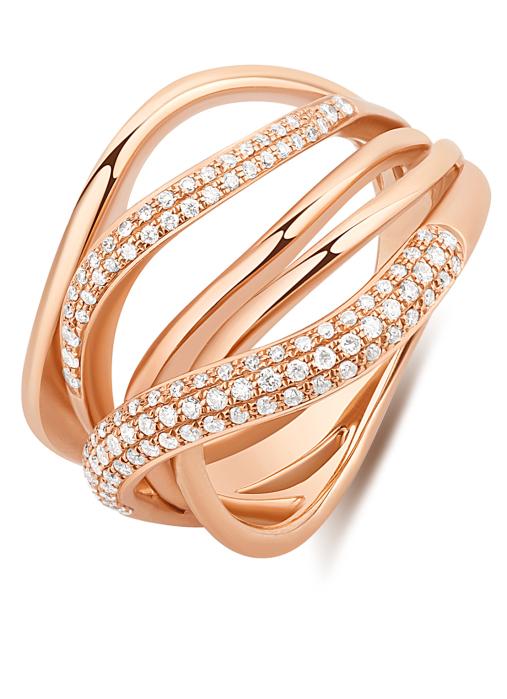 Diamond Point Caviar ring in 14 karat rose gold