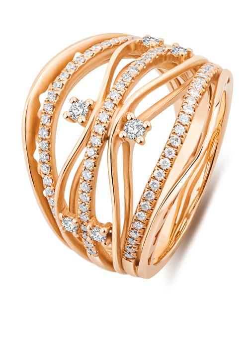 Diamond Point Roségouden ring, 0.55 ct diamant, Alliance