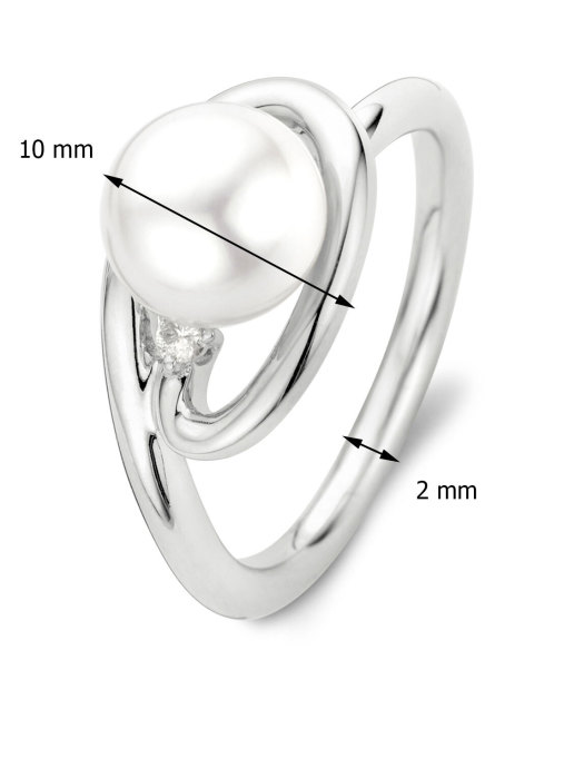 Diamond Point Pearl Ring