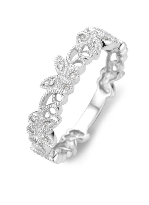 Diamond Point Witgouden ring 0.05 ct diamant Since 1904