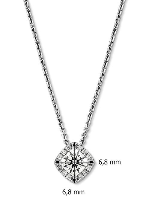 Diamond Point Witgouden hanger, 0.87 ct diamant, Hearts & Arrows