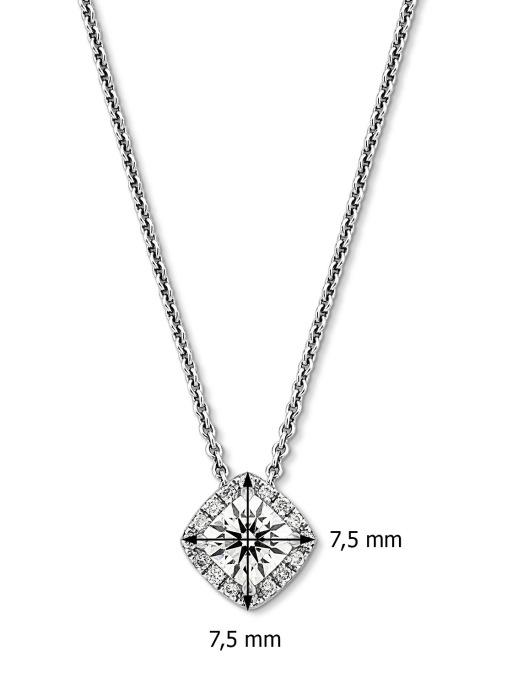 Diamond Point Witgouden hanger, 0.71 ct diamant, Hearts & Arrows