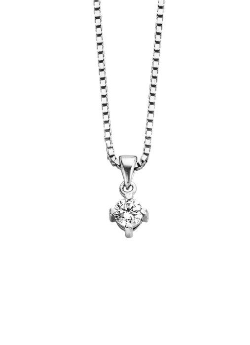 Diamond Point Witgouden hanger, 0.15 ct diamant, Hearts & Arrows