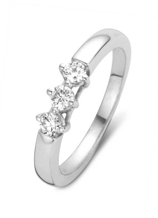 Diamond Point Witgouden ring, 0.30 ct diamant, Hearts & Arrows