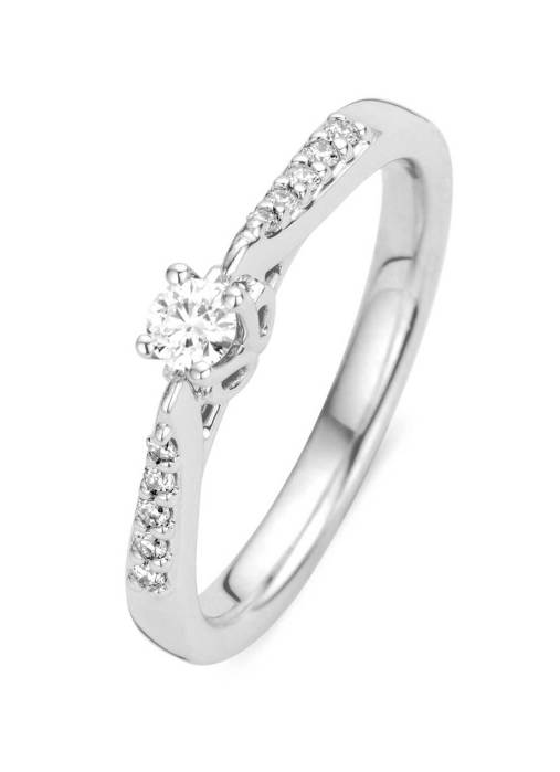 Diamond Point Witgouden ring, 0.18 ct diamant, Hearts & Arrows