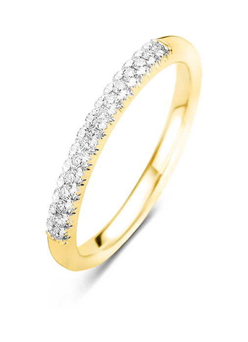 Diamond Point Ensemble ring in 14 karat yellow gold with white rhodium