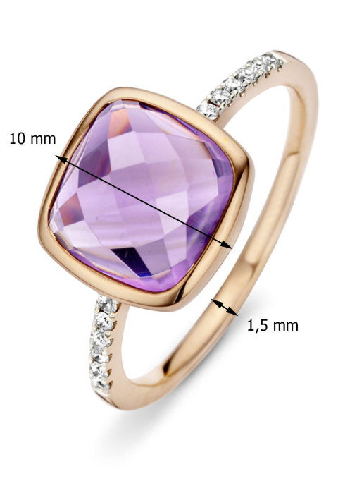 Diamond Point Roségouden ring 3.40 ct amethist Colors
