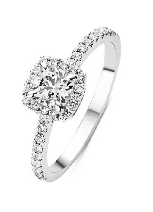 Diamond Point Witgouden ring, 0.89 ct diamant, Hearts & Arrows