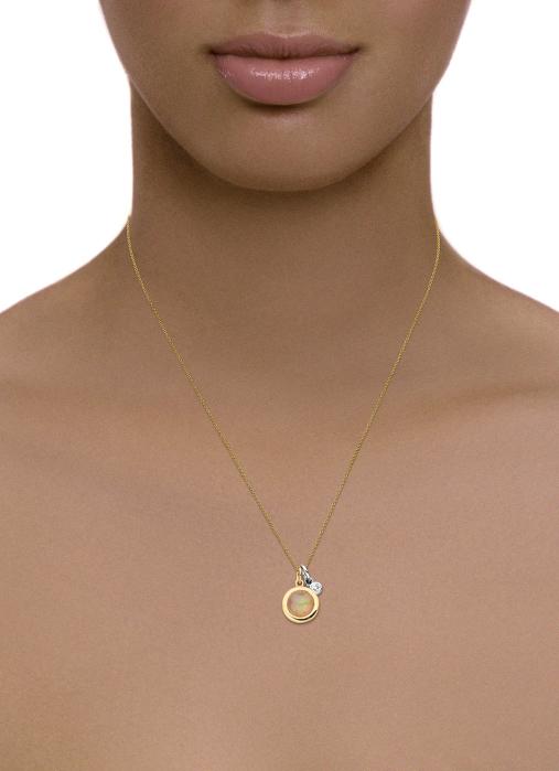 Diamond Point Birthstones pendant in 14 karat yellow and whitegold