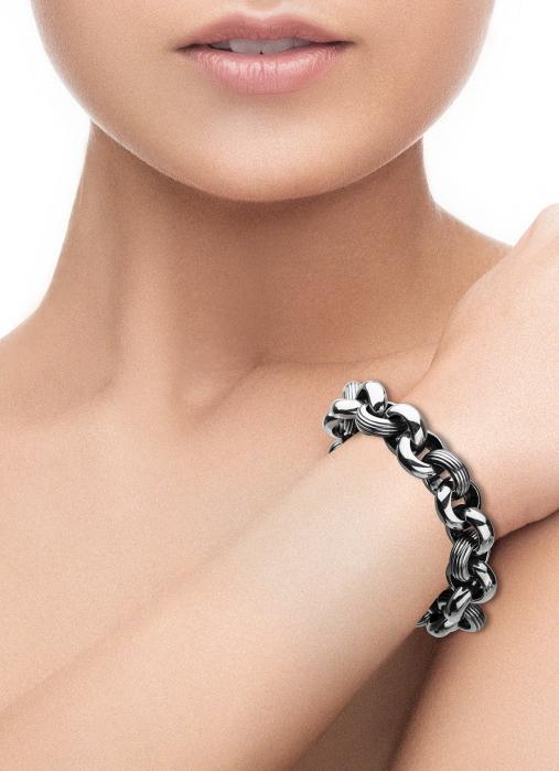 Diamond Point Zilveren jasseron armband (M)