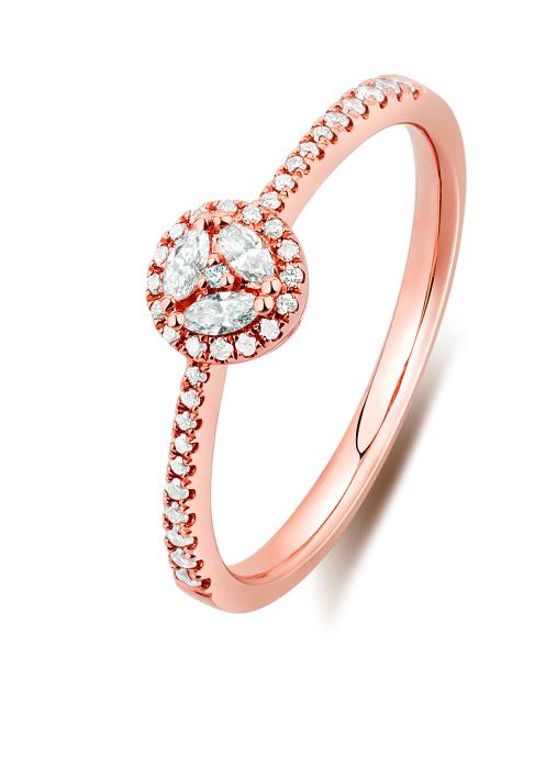 Diamond Point Alliance Ring in 14K Roségold