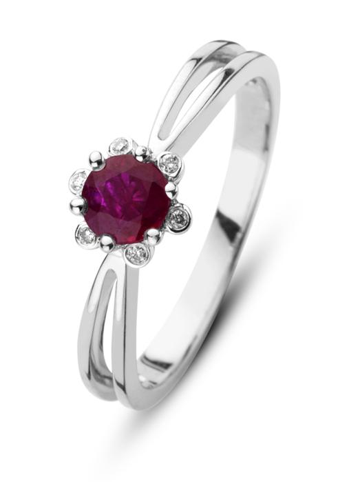Diamond Point Witgouden ring, 0.44 ct robijn, Empress