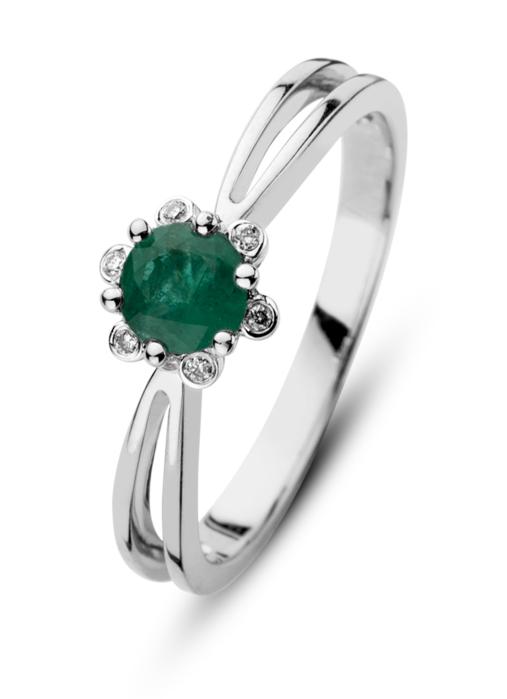Diamond Point Empress ring in 14 karat white gold
